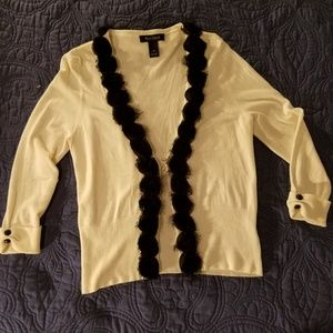 WHBM Knit Cardigan with Rosette Trim